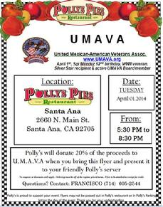 Pollys Pies - Antonio Mendez, WWII, Silver Star recipient, UMAVA, fundraiser, United Mexican American Veterans Association, Latino Veterans, Hispanic Veterans, Francisco J Barragan, Francisco Paco Barragan