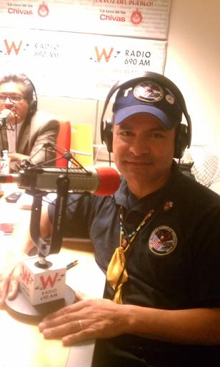 Pic:  Pacorro, Radio interviewer; and Commander Francisco J Barragan, a US Marine - UMAVA, the United Mexican-American Veterans Association