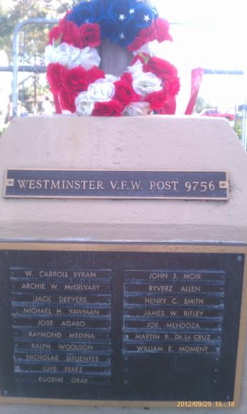 Plaque of Westminster Fallen Military Heroes - Honored by Olive St Reunion and UMAVA