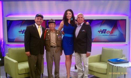 from Left:  Francisco J. Barragán; Antonio Méndez, Patricia Arbulú; Sal Lujan, Barragan, Mendez, Arbulu, Hispanic, Mexican-American, Latino Veterans, UMAVA, Paco Barragan, Silver Star Recipients, World War II, Holocaust, Korea